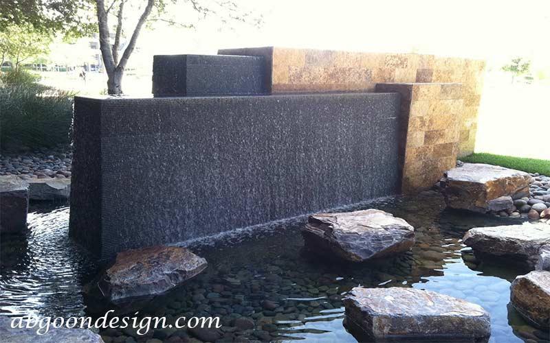 ساخت آبنما صخره ای و باغی بسیار زیبا