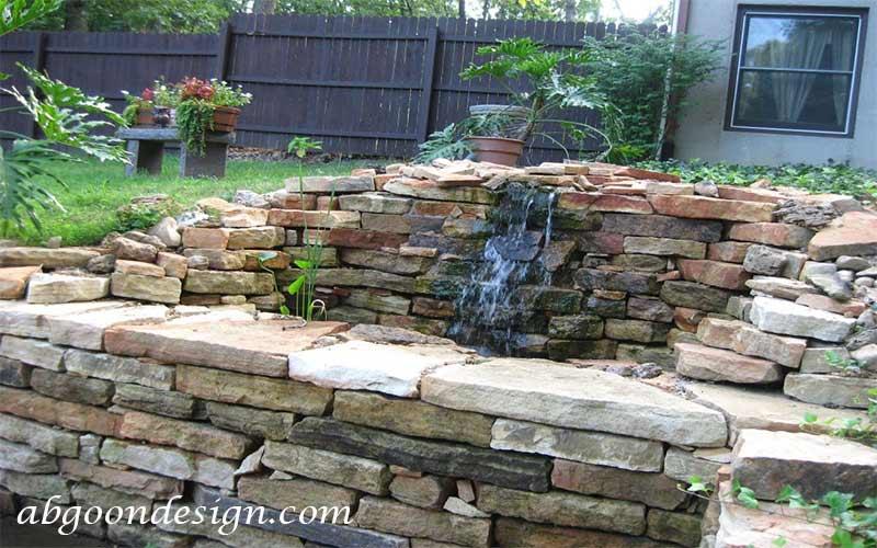 طراحی آبنما صخره ای و باغی