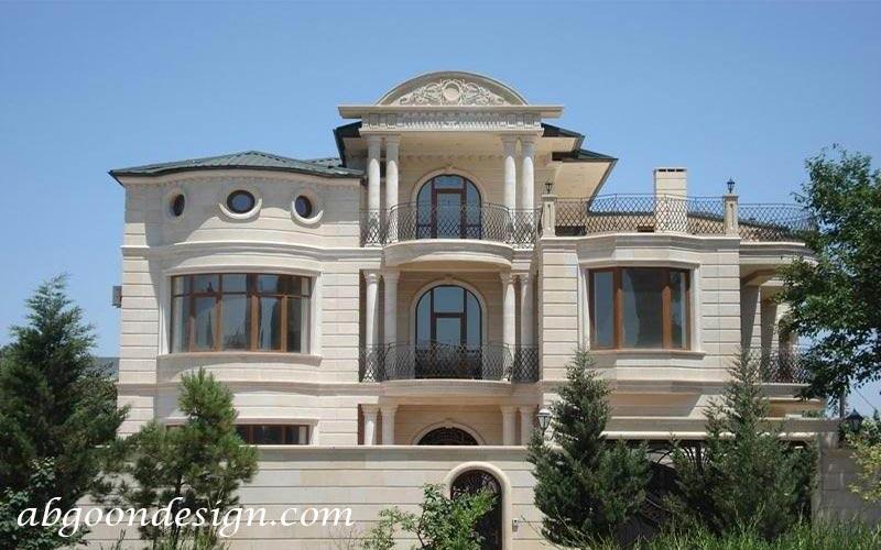 طراحی نمای کلاسیک ساختمان ویلایی|آبگون دیزاین