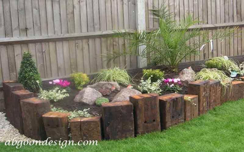 دیزاین لبه باغچه با چوب|آبگون دیزاین