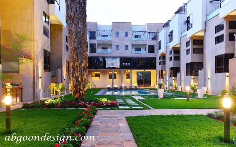 محوطه سازی آپارتمان |آبگون دیزاین