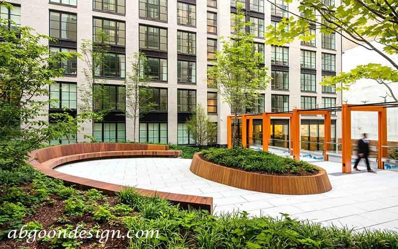 اجرای محوطه سازی مجتمع مسکونی|آبگون دیزاین