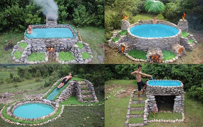 ساخت استخر با سنگ لاشه