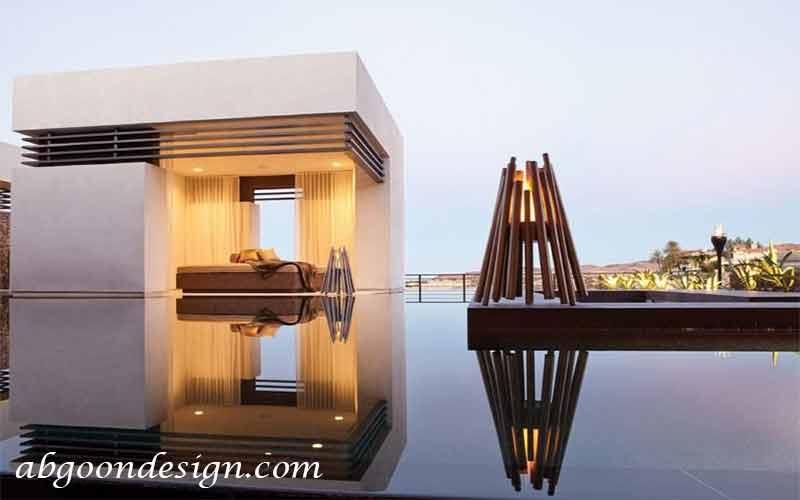 آتشدان در داخل استخر|آبگون دیزاین