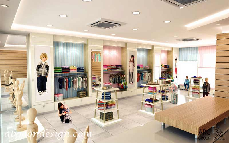 دکوراسیون داخلی مغازه لباس کودک