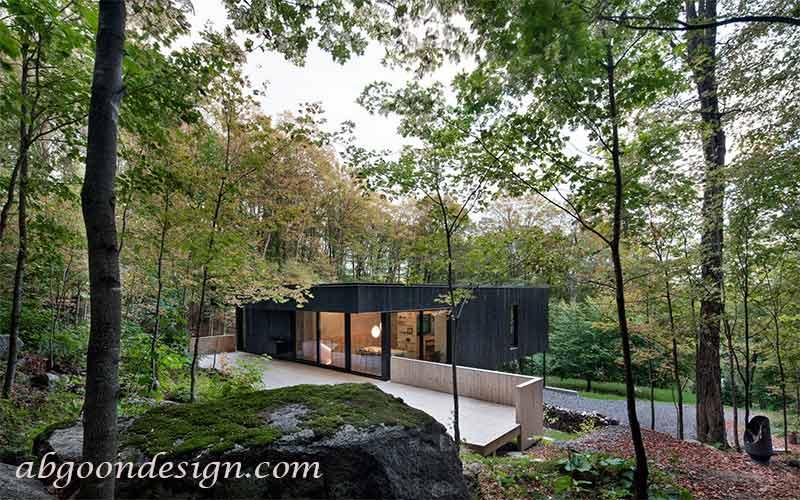طراحی حیاط ویلا شیب دار | آبگون