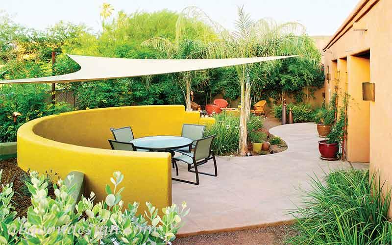 طراحی و اجرای حیاط ویلا شیب دار |آبگون دیزاین