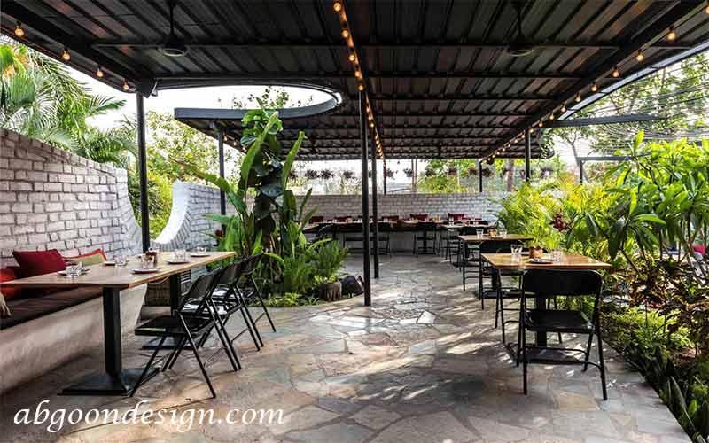 طراحی باغ رستوران سبز | آبگون دیزاین