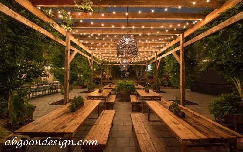 طراحی باغ رستوران چوبی | آبگون دیزاین