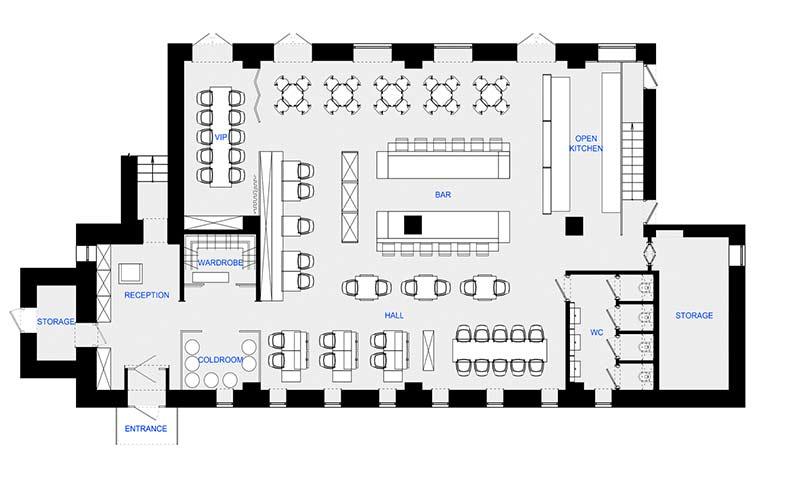 پلان طراحی رستوران | آبگون