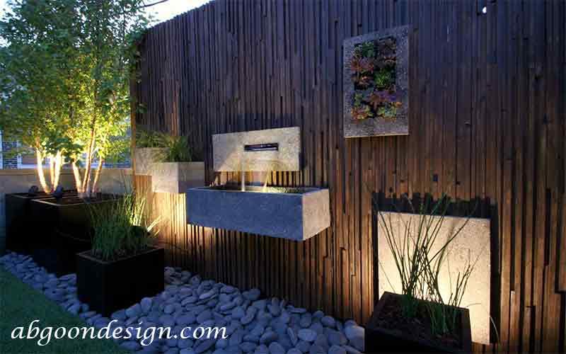 طراحی دیوار حیاط ویلا-آبنما |آبگون دیزاین