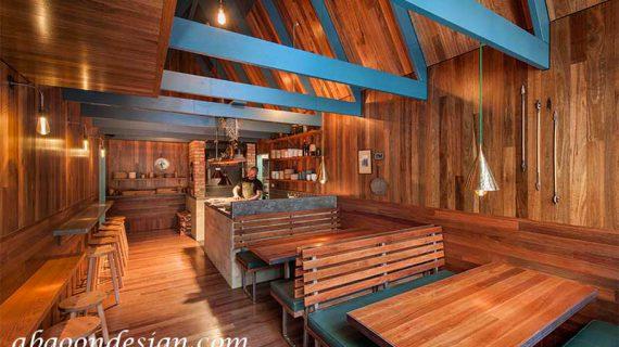 طراحی داخلی رستوران چوبی
