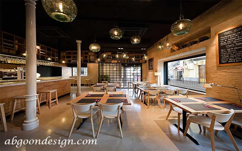 ایده های طراحی داخلی رستوران چوبی | آبگون دیزاین