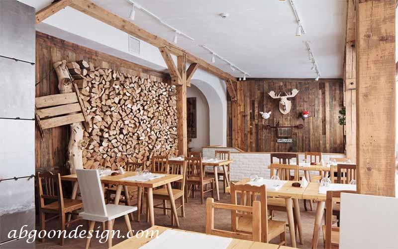 ایده های طراحی داخلی رستوران چوبی