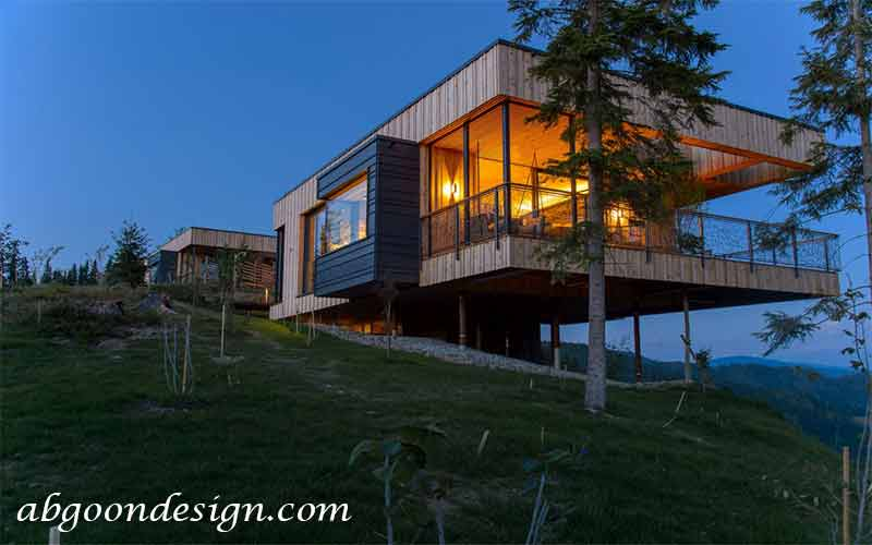 طراحی خانه ویلایی در زمین شیب دار آبگون دیزاین
