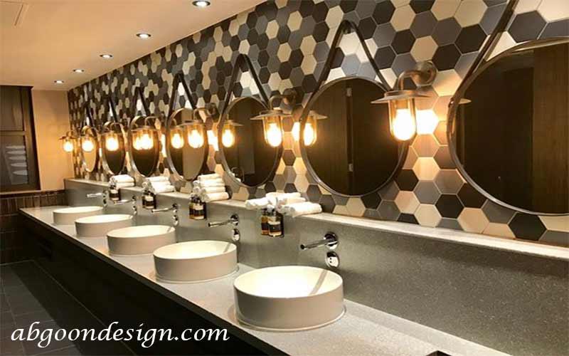 طراحی دکوراسیون سرویس بهداشتی رستوران | آبگون دیزاین