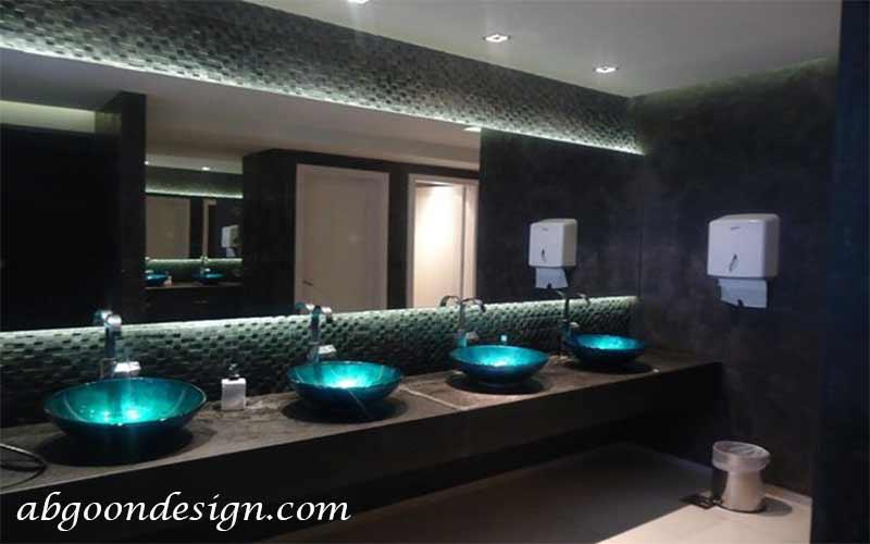 طراحی داخلی سرویس بهداشتی رستوران | آبگون دیزاین