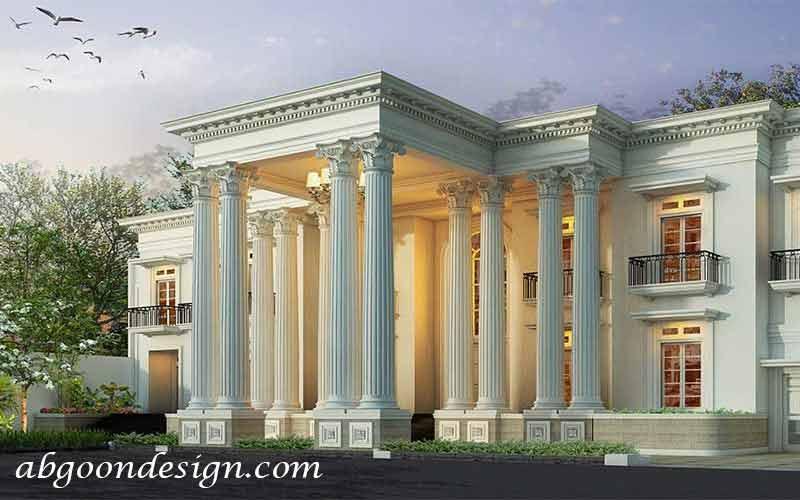طراحی ویلا نما رومی|آبگون دیزاین